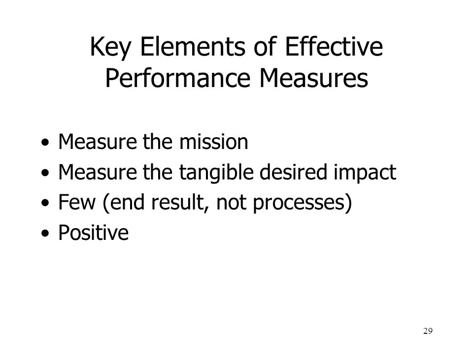 Key Elements of Effective Performance Measures