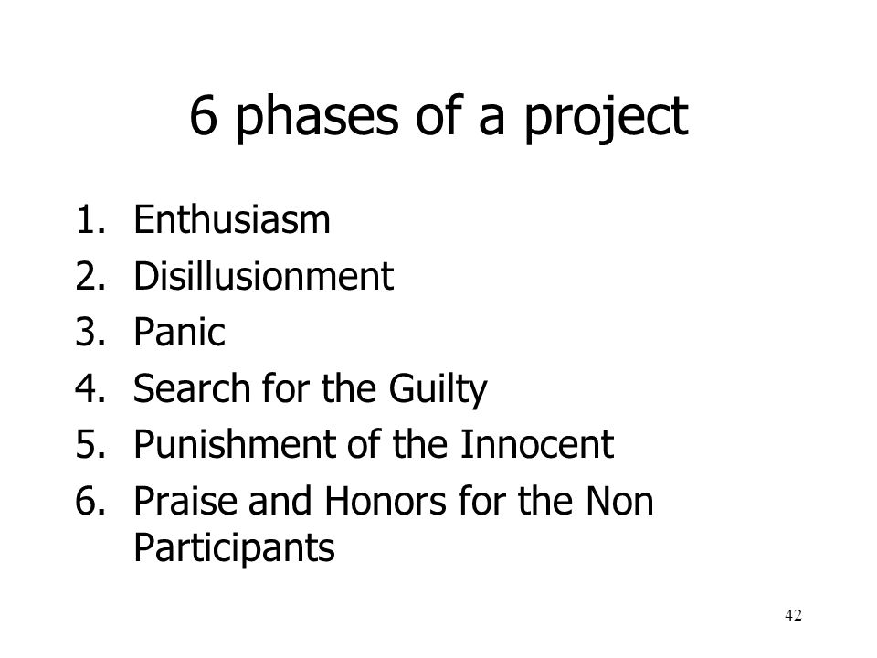 6 phases of a project Enthusiasm Disillusionment Panic