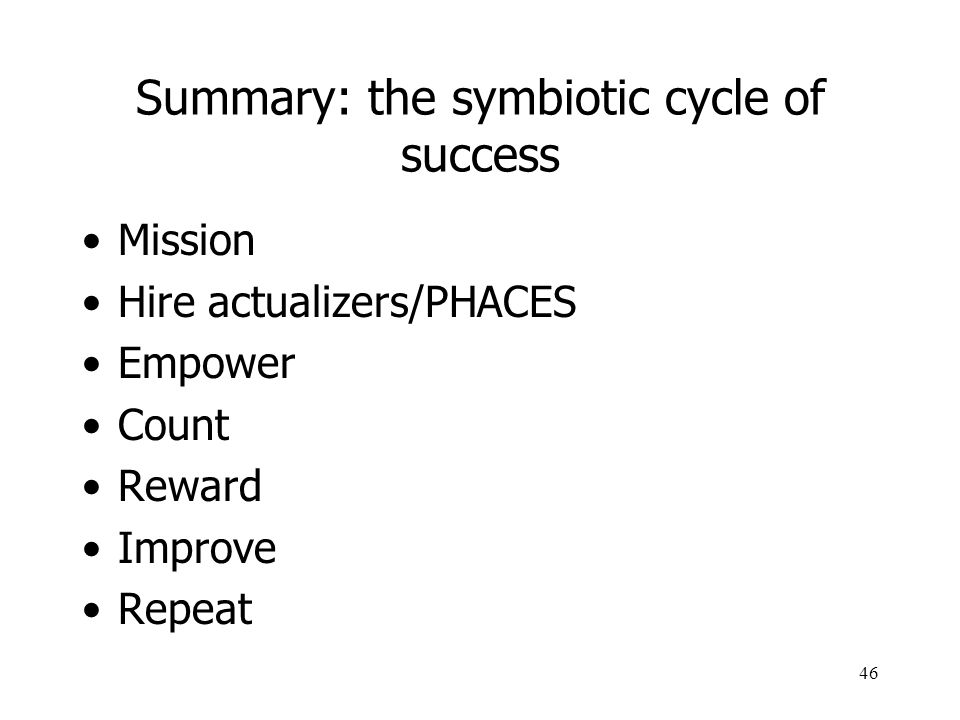 Summary: the symbiotic cycle of success