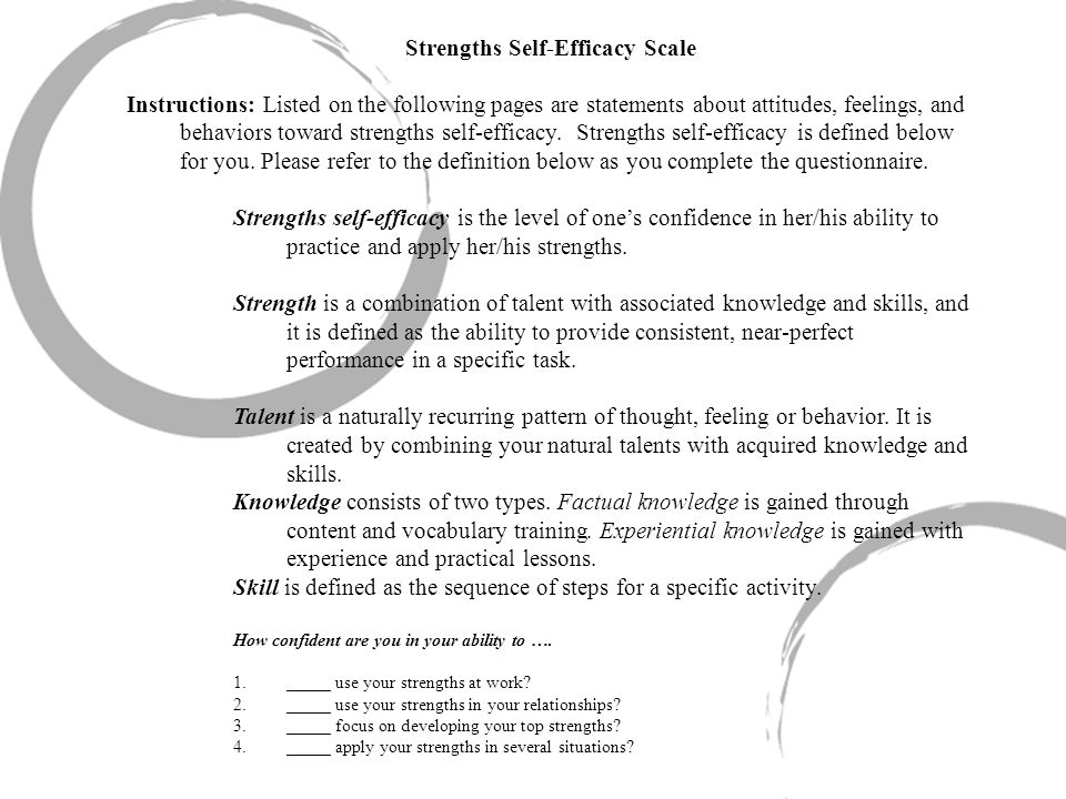 Strengths Self-Efficacy Scale