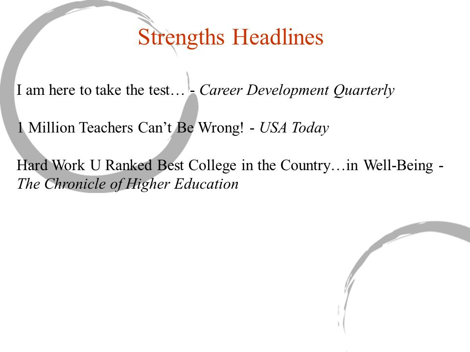 Strengths Headlines I am here to take the test… - Career Development Quarterly. 1 Million Teachers Can't Be Wrong! - USA Today.