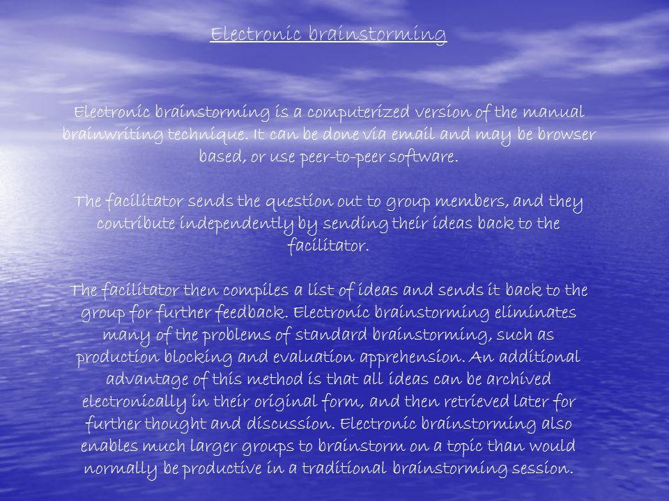 Electronic brainstorming