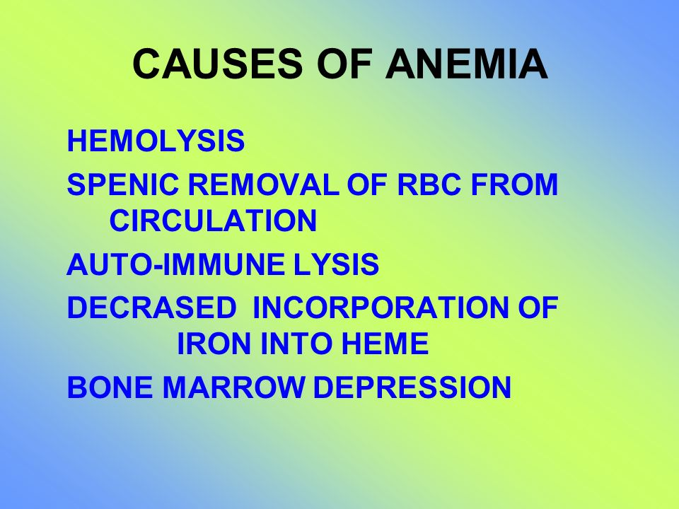 CAUSES OF ANEMIA HEMOLYSIS SPENIC REMOVAL OF RBC FROM CIRCULATION