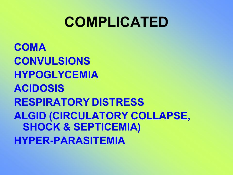 COMPLICATED COMA CONVULSIONS HYPOGLYCEMIA ACIDOSIS