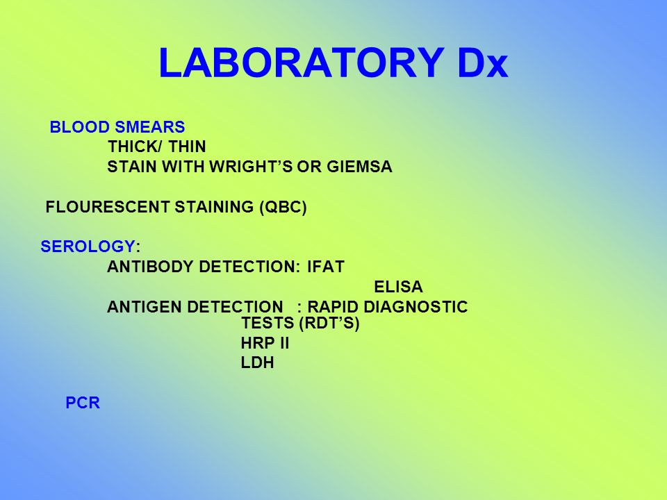 LABORATORY Dx BLOOD SMEARS THICK/ THIN STAIN WITH WRIGHT'S OR GIEMSA
