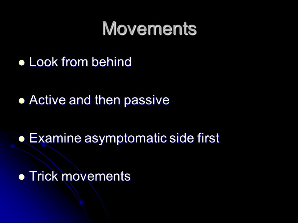 Movements Look from behind Active and then passive