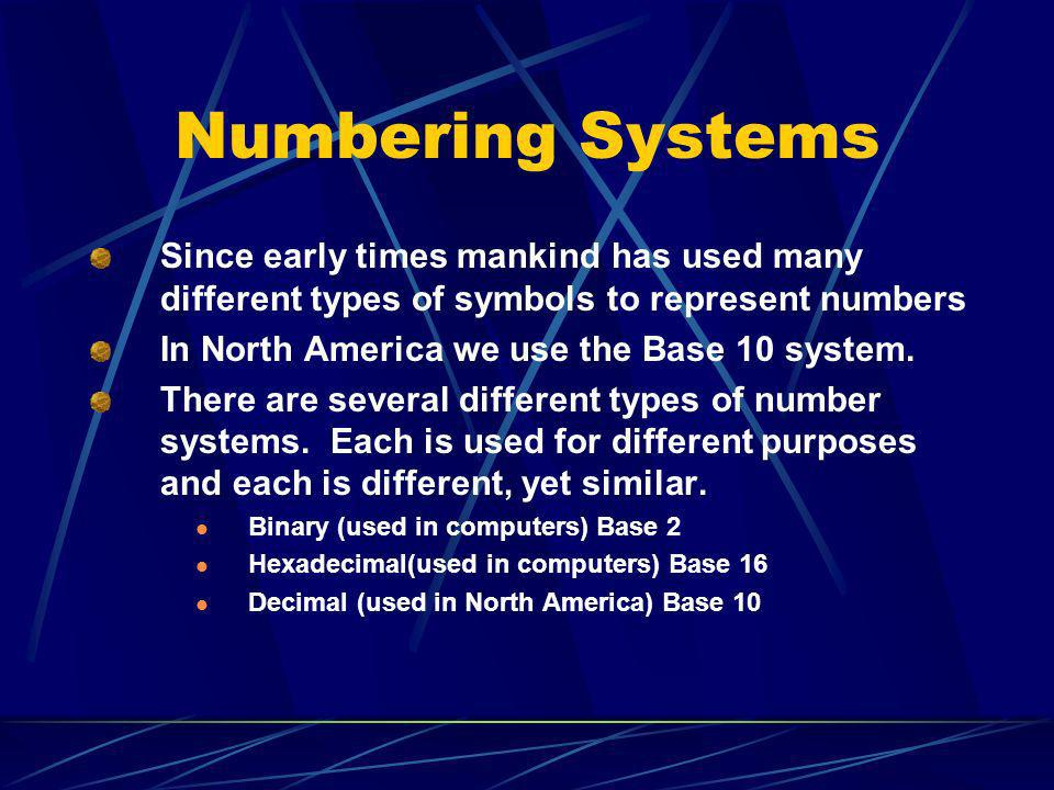 Numbering Systems Since early times mankind has used many different types of symbols to represent numbers.
