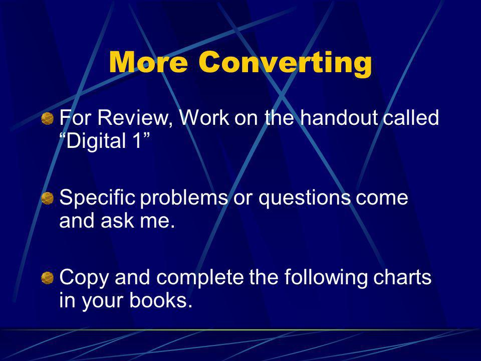 More Converting For Review, Work on the handout called Digital 1