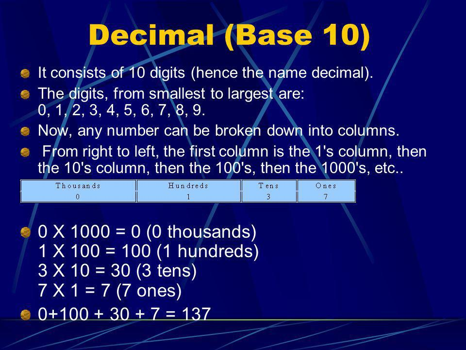 Decimal (Base 10) It consists of 10 digits (hence the name decimal). The digits, from smallest to largest are: 0, 1, 2, 3, 4, 5, 6, 7, 8, 9.