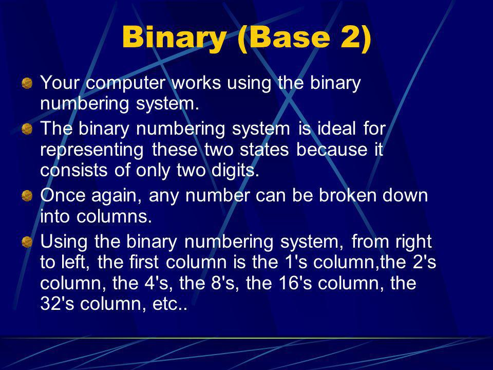 Binary (Base 2) Your computer works using the binary numbering system.