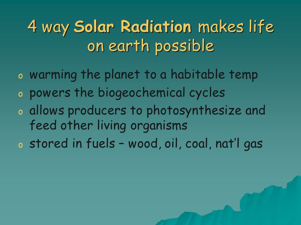 4 way Solar Radiation makes life on earth possible