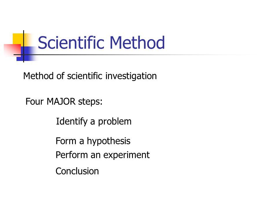 Scientific Method Method of scientific investigation Four MAJOR steps: