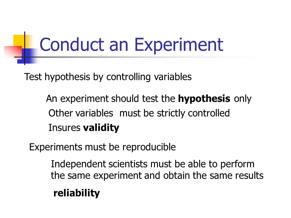 Conduct an Experiment Test hypothesis by controlling variables