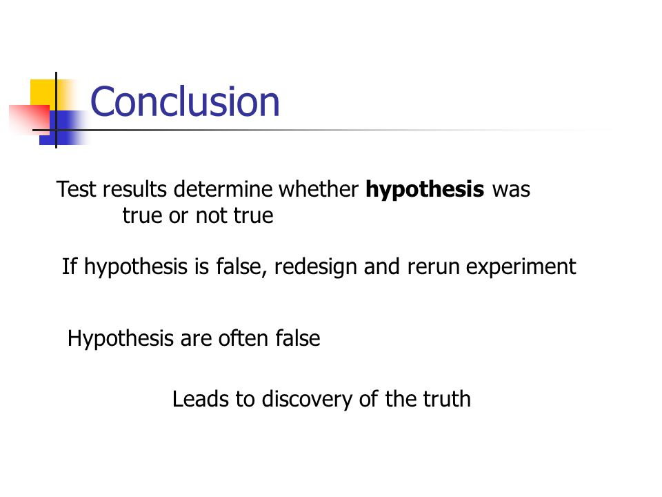 Conclusion Test results determine whether hypothesis was