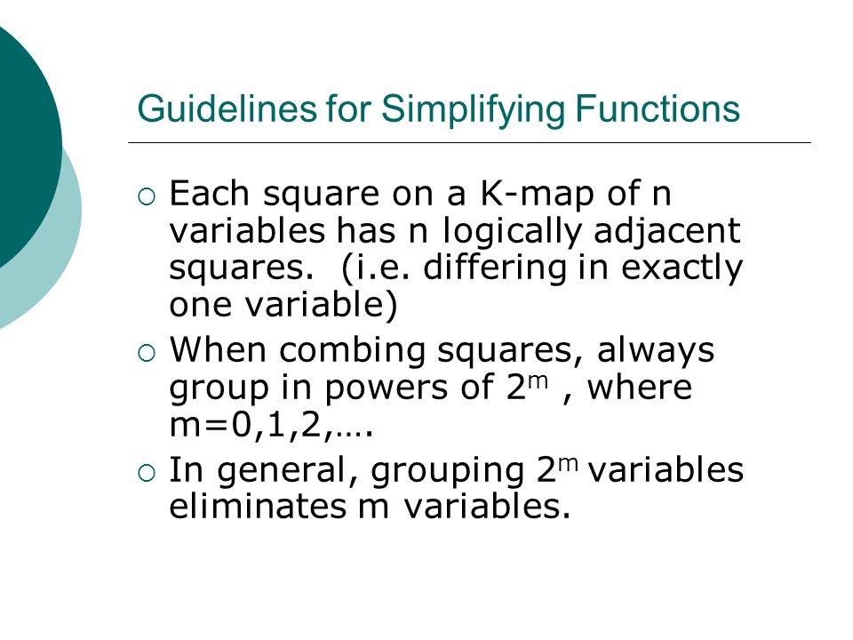Guidelines for Simplifying Functions