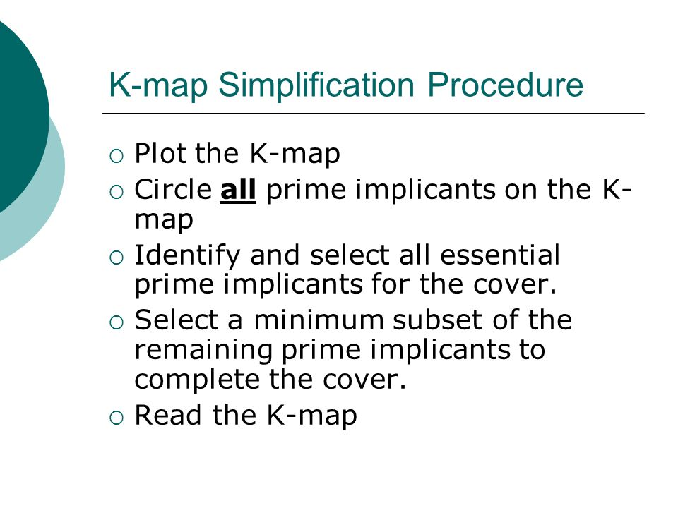 K-map Simplification Procedure