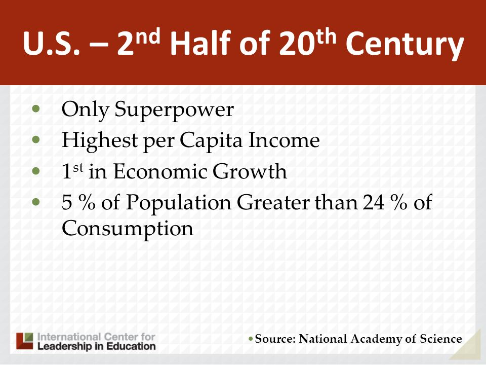 U.S. – 2nd Half of 20th Century Source: National Academy of Science