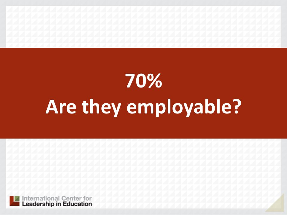 70% Are they employable