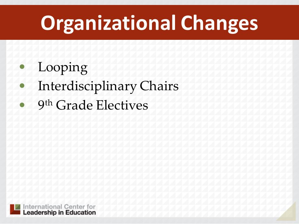 Organizational Changes
