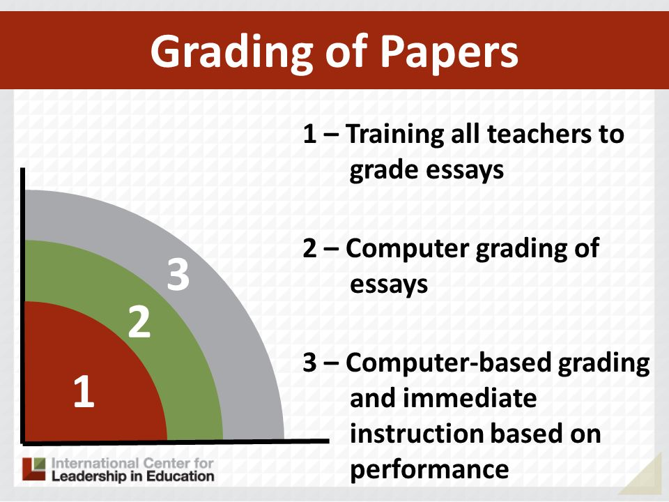 Grading of Papers 3 2 1 1 – Training all teachers to grade essays