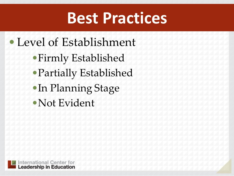 Best Practices Level of Establishment Firmly Established