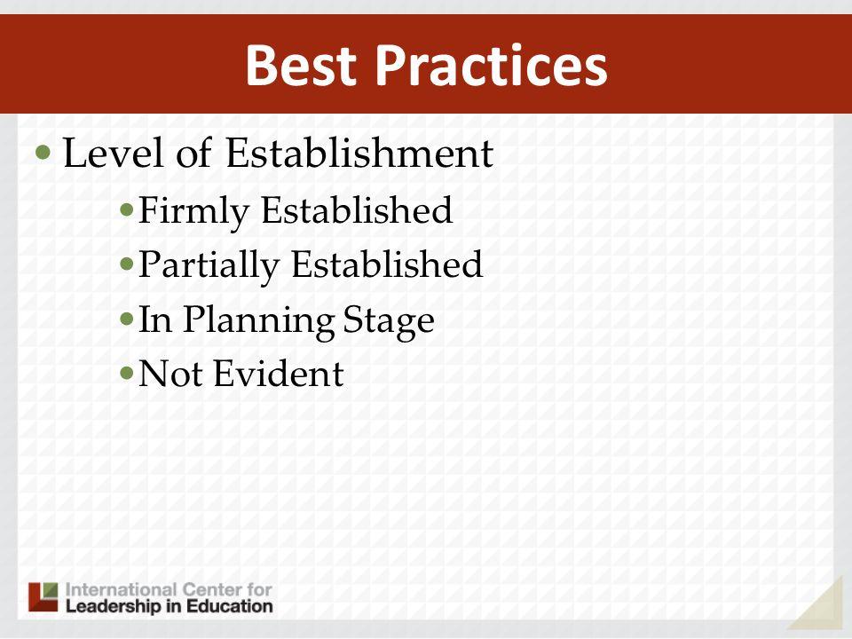 Best Practices Level of Establishment Firmly Established