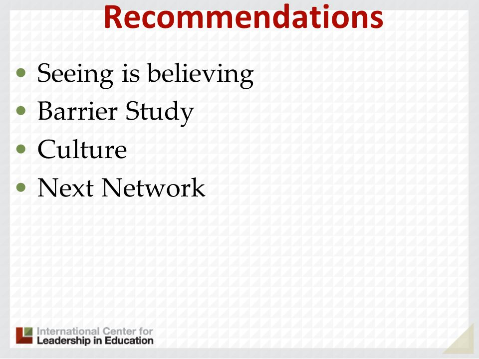 Recommendations Seeing is believing Barrier Study Culture Next Network