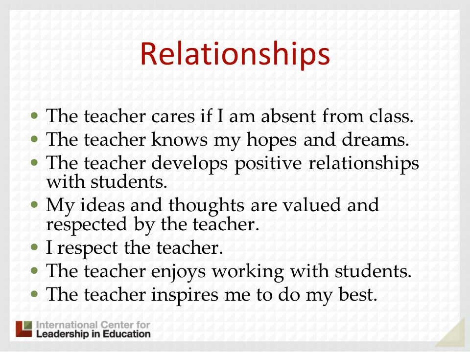 Relationships The teacher cares if I am absent from class.