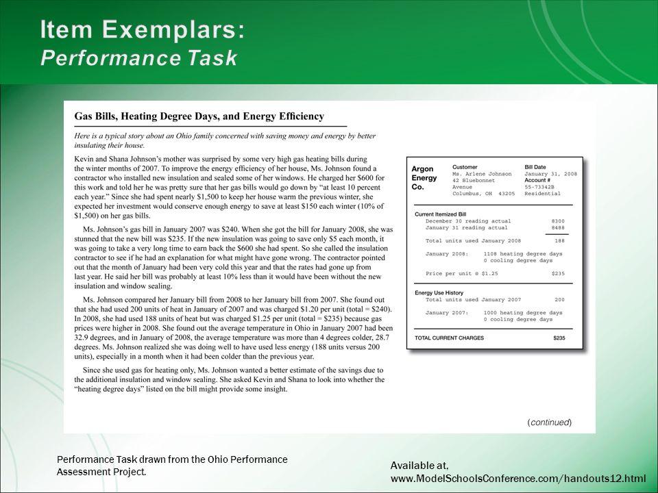 Item Exemplars: Performance Task