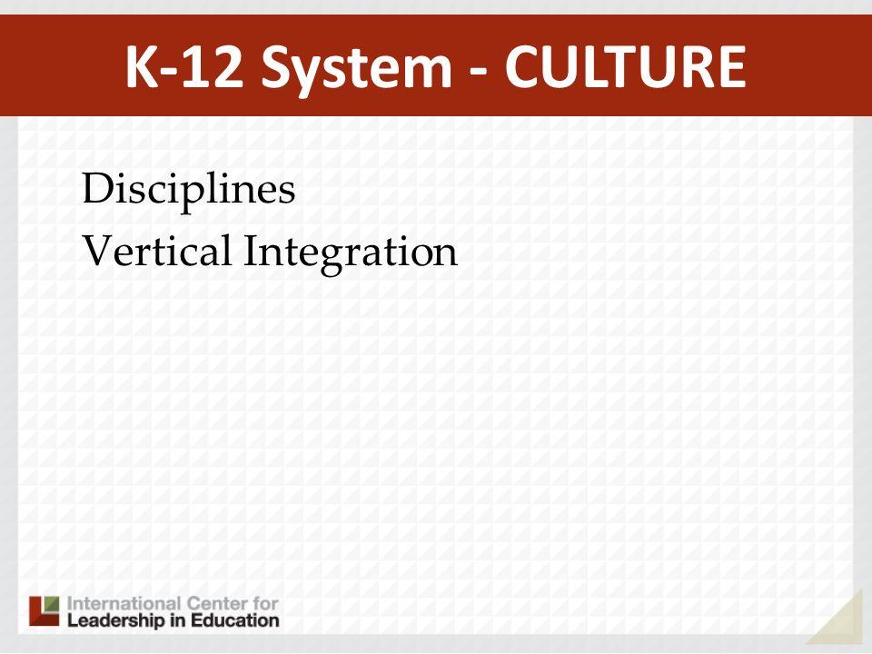 K-12 System - CULTURE Disciplines Vertical Integration