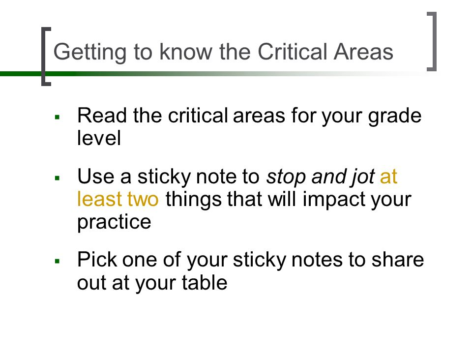 Getting to know the Critical Areas