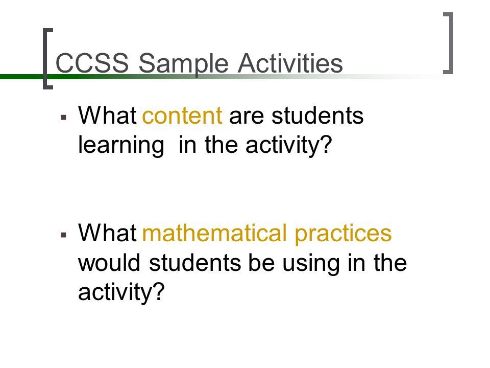 CCSS Sample Activities