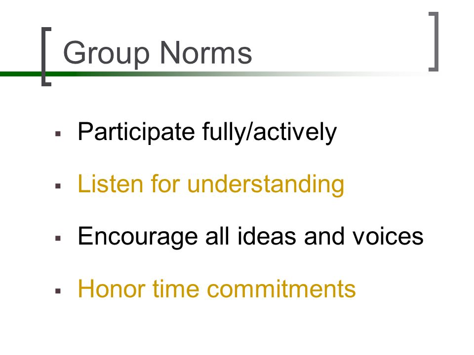Group Norms Participate fully/actively Listen for understanding