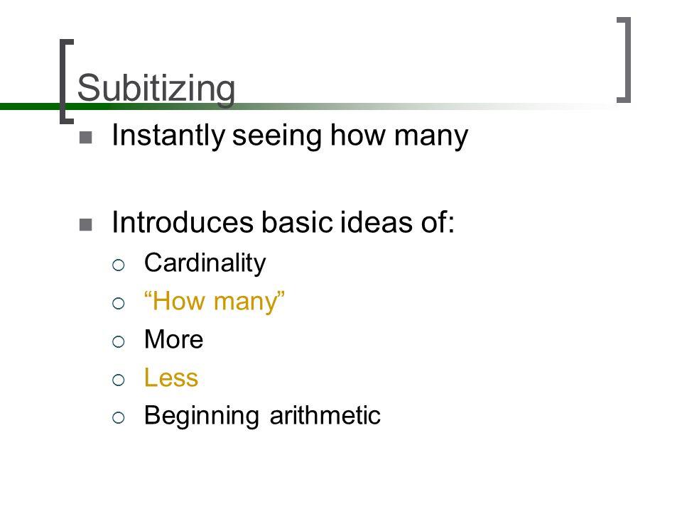 Subitizing Instantly seeing how many Introduces basic ideas of: