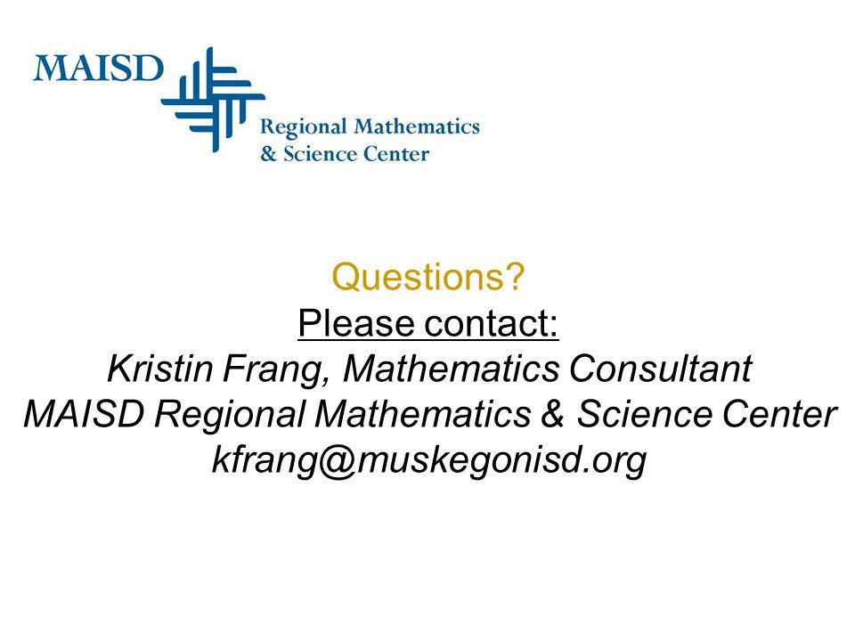 Kristin Frang, Mathematics Consultant