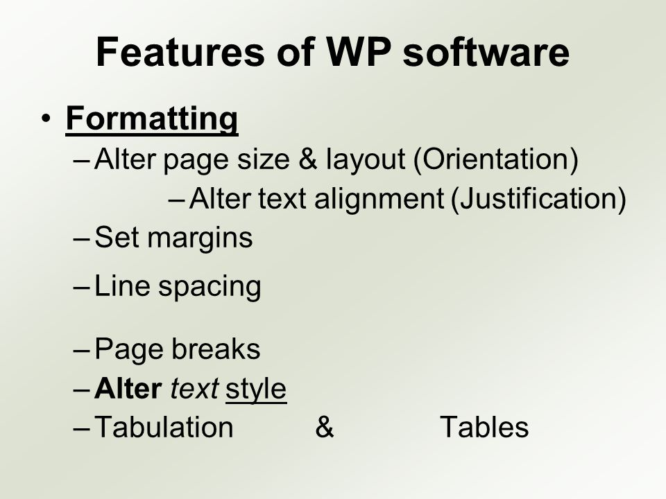 Features of WP software