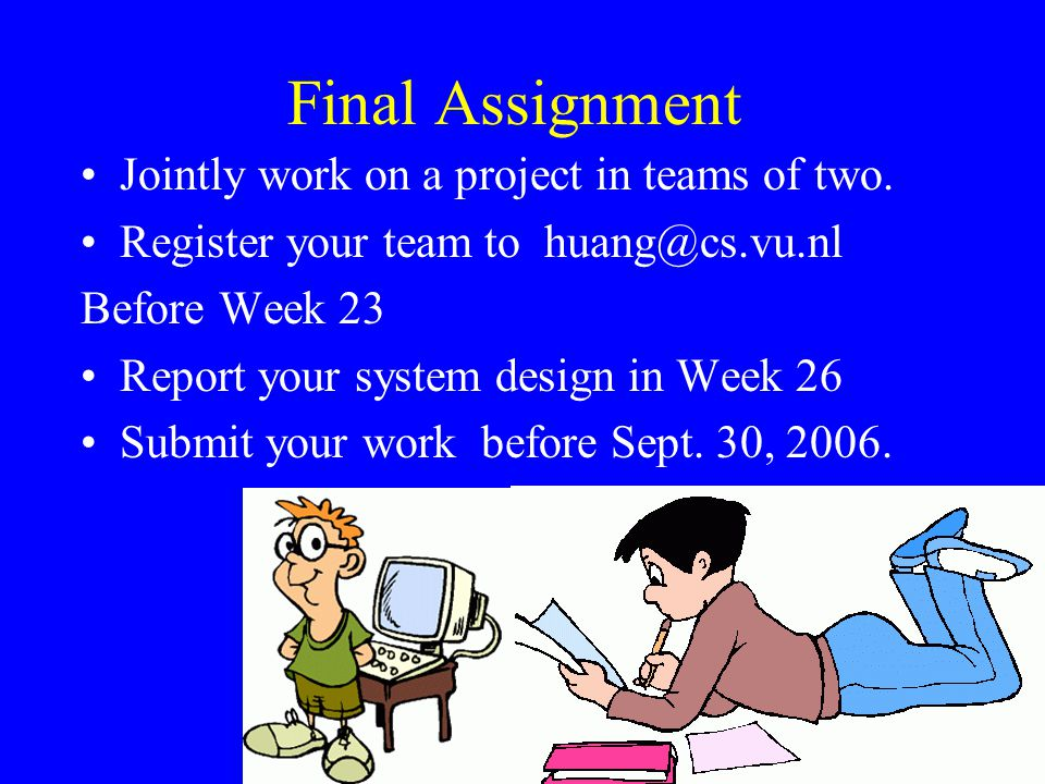 Final Assignment Jointly work on a project in teams of two.