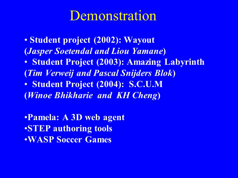 Demonstration Student project (2002): Wayout