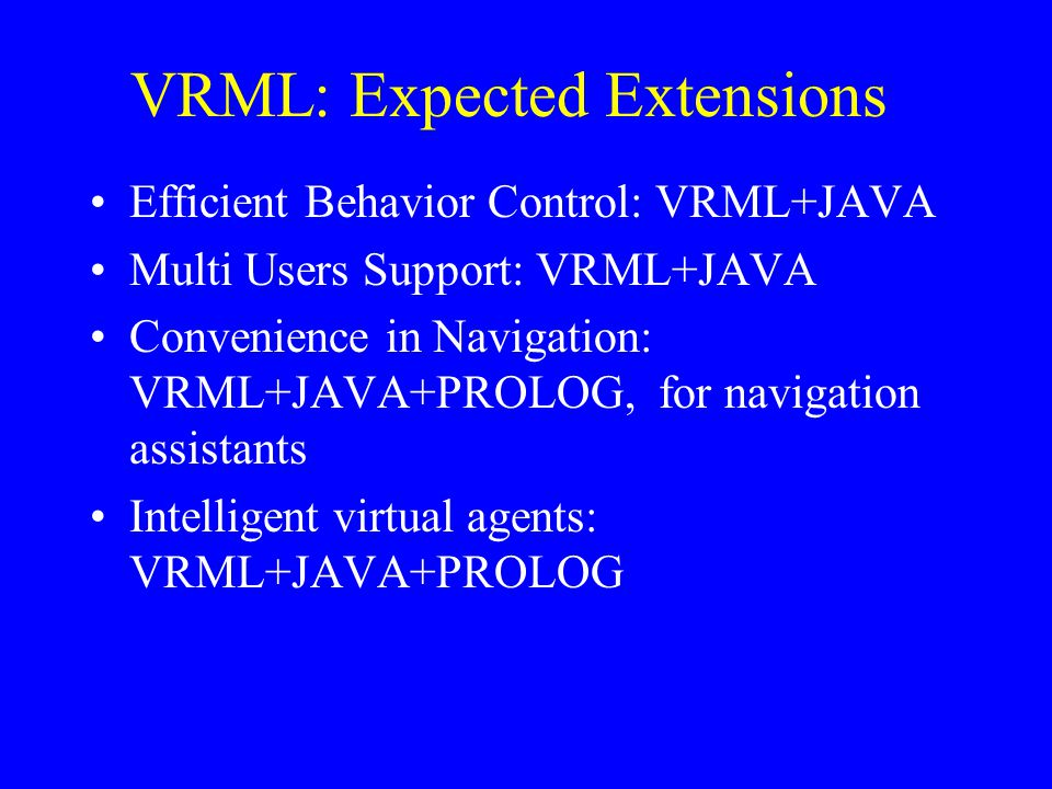VRML: Expected Extensions