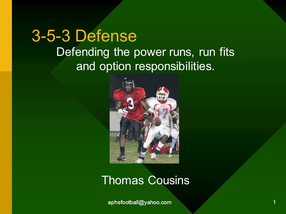 Defending the power runs, run fits and option responsibilities.