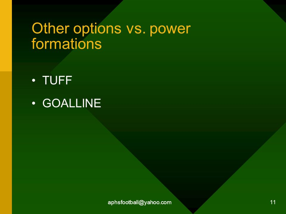 Other options vs. power formations