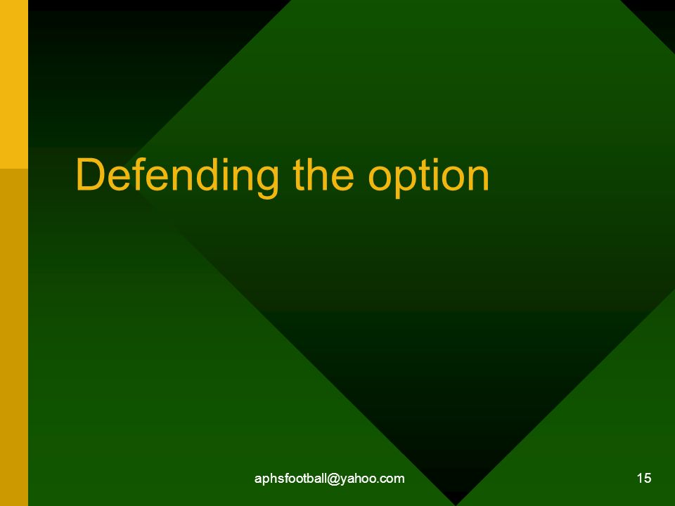 Defending the option aphsfootball@yahoo.com