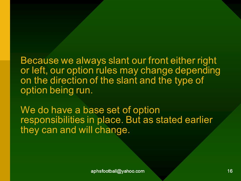 Because we always slant our front either right or left, our option rules may change depending on the direction of the slant and the type of option being run. We do have a base set of option responsibilities in place. But as stated earlier they can and will change.