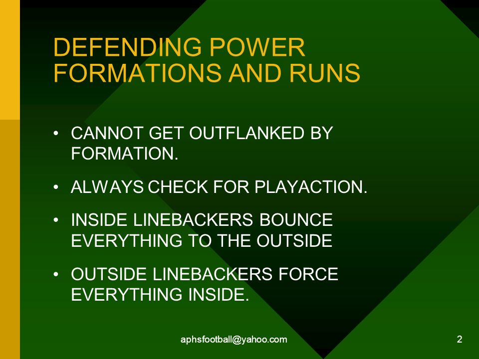 DEFENDING POWER FORMATIONS AND RUNS