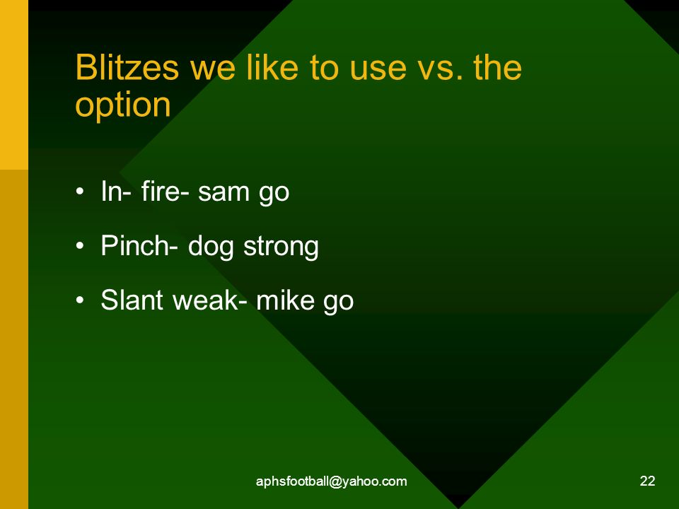 Blitzes we like to use vs. the option