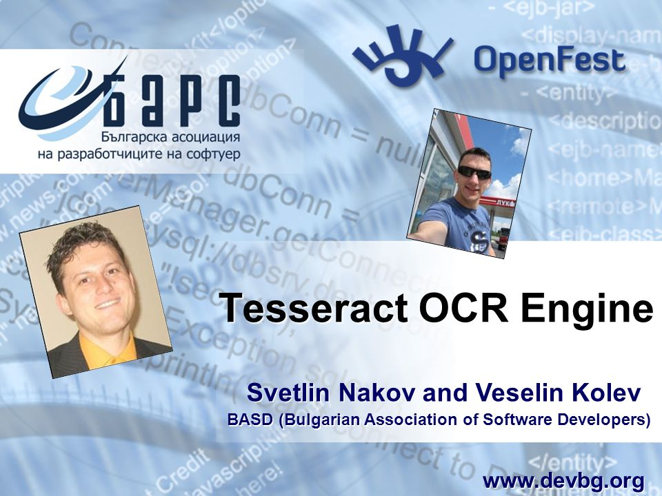 Tesseract OCR Engine Svetlin Nakov and Veselin Kolev www.devbg.org