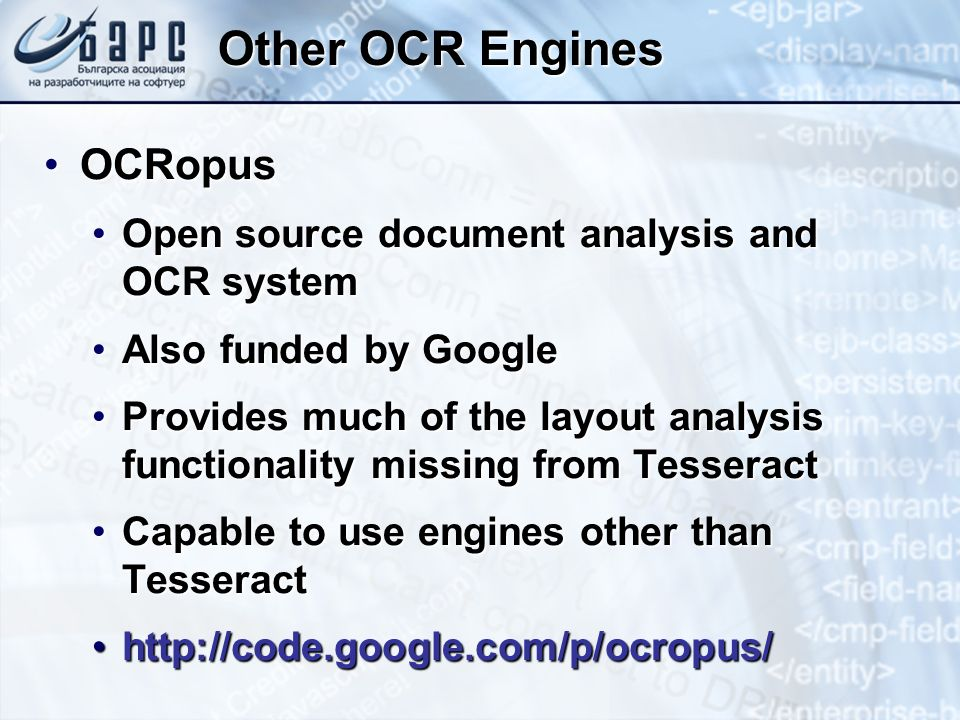 Other OCR Engines OCRopus Open source document analysis and OCR system
