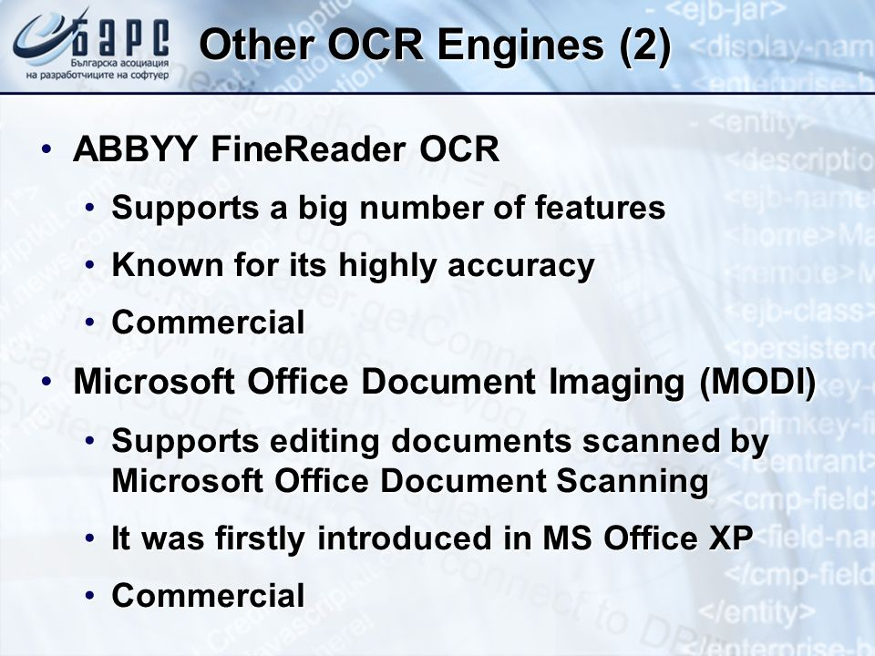 Other OCR Engines (2) ABBYY FineReader OCR