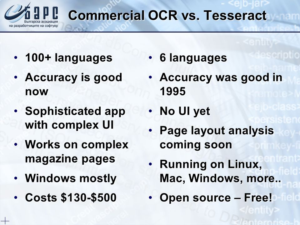 Commercial OCR vs. Tesseract