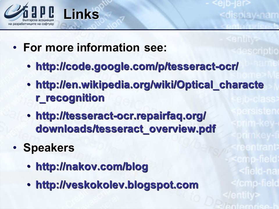 Links For more information see: Speakers